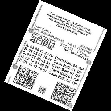 Билет лотереи Cash4Life