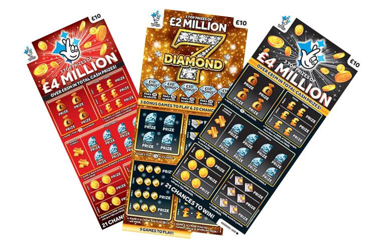 Билеты моментальных лотереи стоимостью 10 фунтов