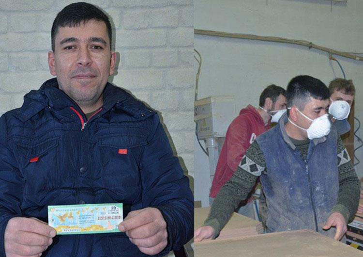 Эсат Шахан со своим лотерейным билетом