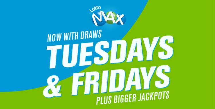 Начиная с 11 мая, розыгрыши LottoMax будут проводиться в неделю два раза: по вторникам и пятницам