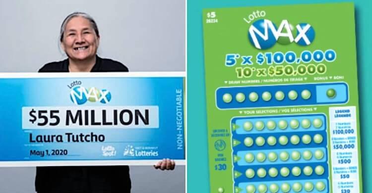 Laura Tutcho с чеком на 55 миллионов