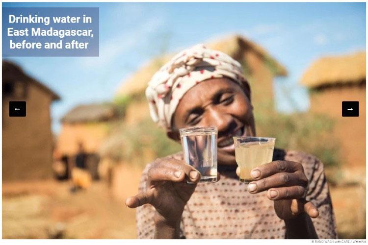 Питьевая вода на Восточном Мадагаскаре до и после.