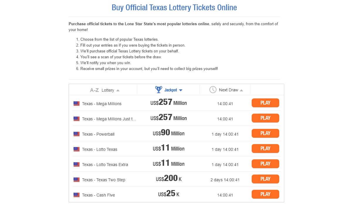 Лотереи, которые предлагает TheLotter жителям Техаса