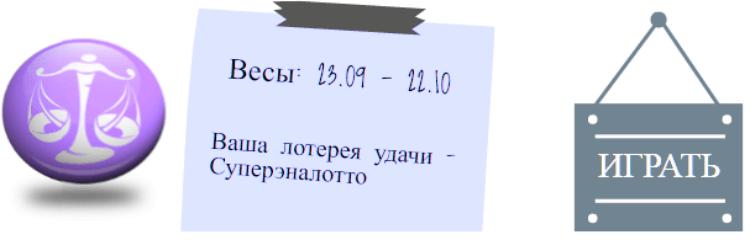Лотерейный гороскоп. Весы (с 23 сентября по 22 октября)