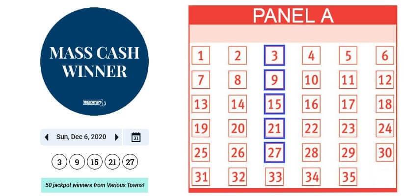 Игровое поле лотереи Mass Cash с выбором 50 игроков