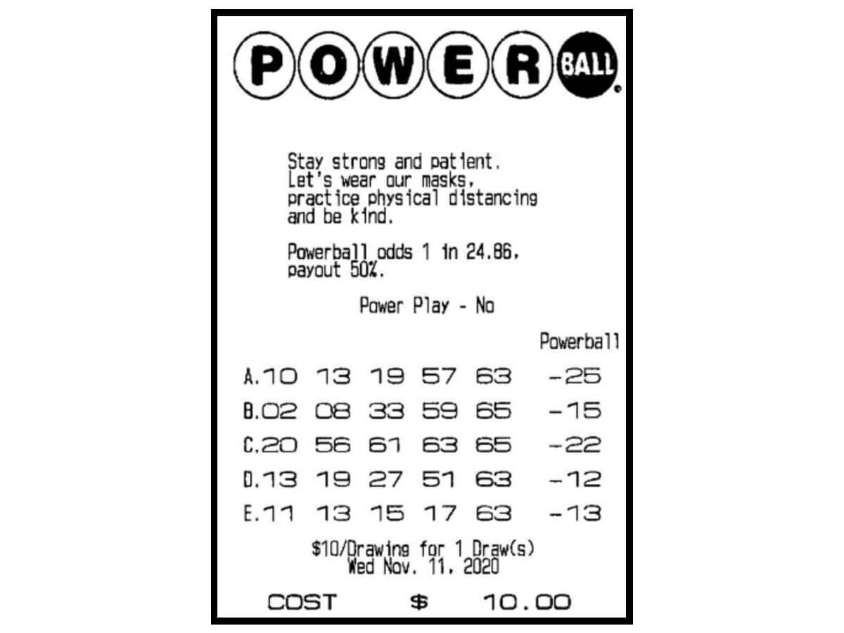 Выигрышный билет А.Ф. в лотерею Powerball