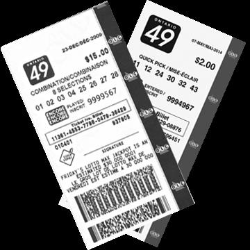 Билет лотереи Ontario 49